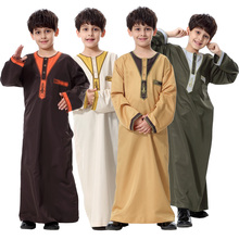 Muslim thobe kids abaya arabic clothing for boy Middle East youth boys robe abaya with embroidery TH872