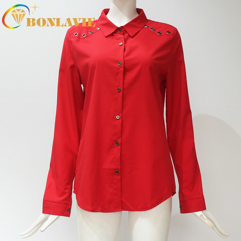 Chiffon   Shirt   Button Decoration Turn-down Collar Full Sleeve Pure Colour Solid Red White Pink Black Office Lady Chiffon   Blouse