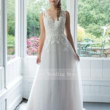 Черпак иллюзия свадебное платье с аппликацией A-Line тюль платья открытая спина невесты платье vestido novia