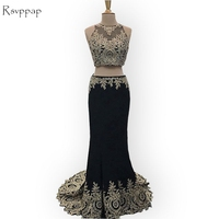 Sexy Long Prom Dress 2017 Sheer O Neck Sleeveless Gold Lace Floor Length Two Piece Black