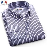 Langmeng 2018 Marca Nueva Moda de Rayas Camisa de Los Hombres 100% Algodón Causal Camisetas de Manga Larga de Alta calidad de Los Hombres Camisa de Vestir de Negocios