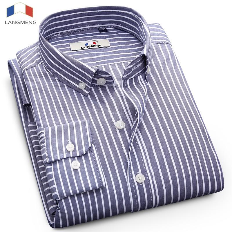 Langmeng 2018 nouvelle marque de mode chemise à rayures hommes 100% coton casual chemises de haute qualité à manches longues hommes chemise d'affaires