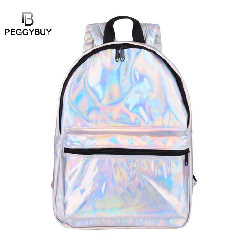 Hot Selling Fashion Hologram Backpack For School Student Mens Laser Silver Holographic Bag Mochila Masculina Travel Backpack Cheap Sales Luggage & Bags