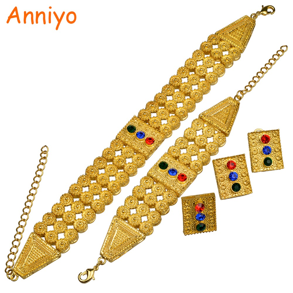 Anniyo Ethiopian Gold Color Jewelry sets Colored Stone Chokers Necklace/Earrings/Ring/Bracelet African Wedding Eritrean #082406Anniyo Ethiopian Gold Color Jewelry sets Colored Stone Chokers Necklace/Earrings/Ring/Bracelet African Wedding Eritrean #082406