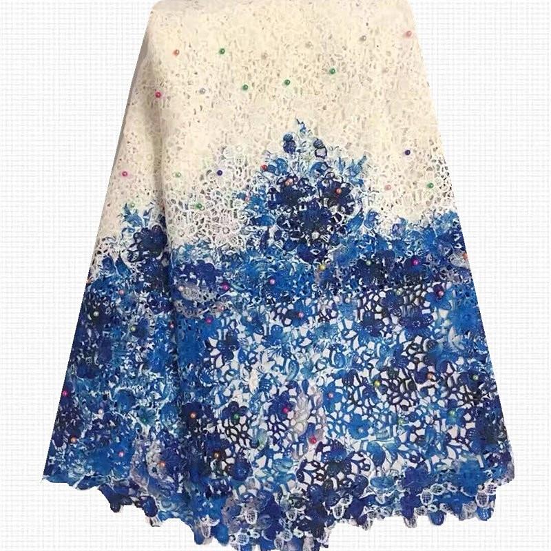 Lacets de cordon africain blanc + bleu broderie dentelle Guipure suisse avec perles pour robes de mariée nigérianes A25-91304