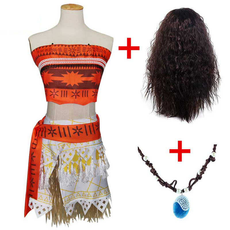 Princess Moana Cosplay Costume For Children Vaiana Dress Up Clothes With Necklace For Halloween Costumes For Kids Girls