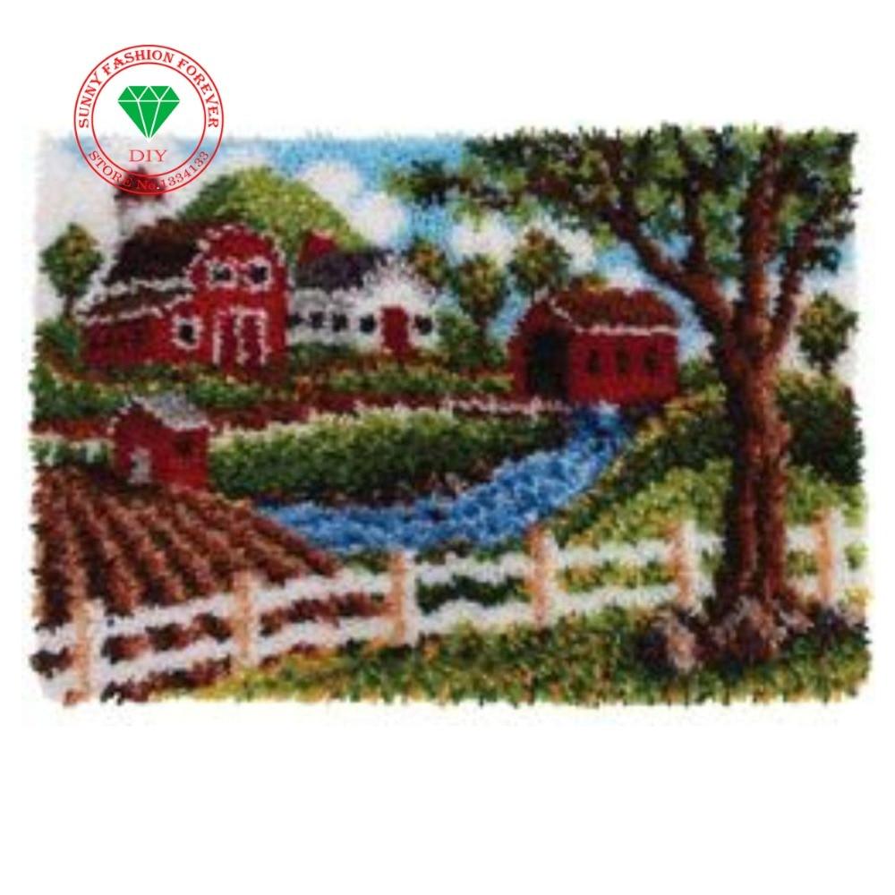 Carpet embroidery Landscape Unfinished Crocheting Rug Yarn Cushion Embroidery Carpet DIY Mat Needlework Kit Latch Hook