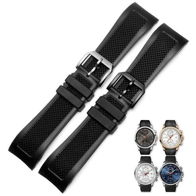 f57ac06690cd Boca curvada 22mm negro correa de goma para IW390211 IW390209 relojes banda  impermeable hombres correas pulsera