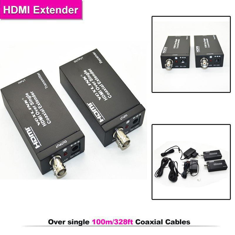HDMI Over single 100m/328ft Extender Coaxial IR wireless HDMI transmitter receiver support HDMI 1.3,HDCP1.1