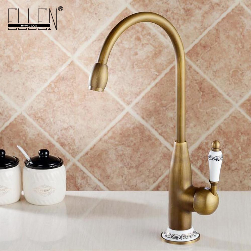 Robinets de cuisine Antique Bronze robinet pour mélangeur de cuisine robinet avec grue en céramique froid et chaud cuisine évier robinet mélangeurs d'eau 7513