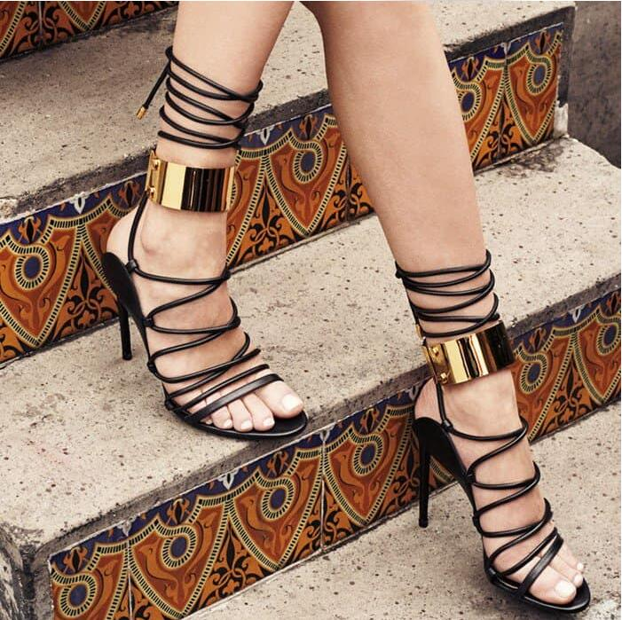 Drop Shipping Summer Women Fashion Black Gold Circle Cross Lace Up Open Toe Gladiator Thin Heels Party Sandals Boots Short Boots black sequins embellished open back lace up top
