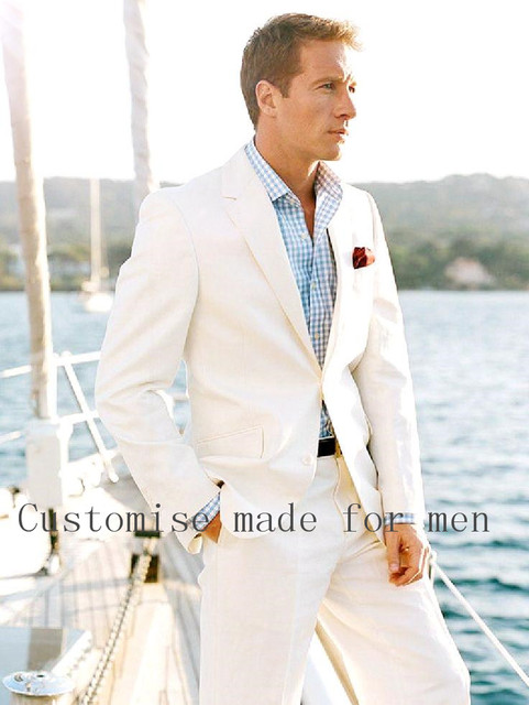 2017 White Linen Blazer Custom Made Linen Suit Sharp Look Tailored ...