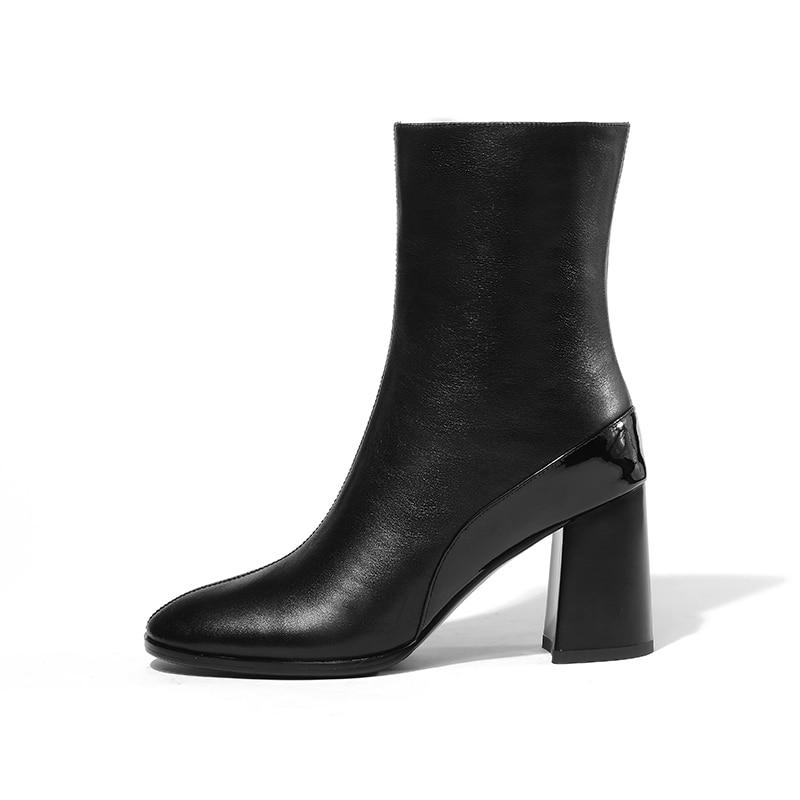 vera Punta Spring Caramel da Tacchi alti 2019 Zip Stivaletti donna in Stivale Color Wetkiss donna Thick pelle tonda Black Shoes Office F0wOOS