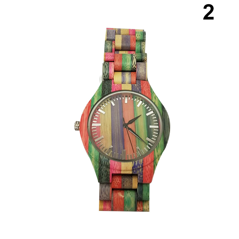 Quartz-Watch Colorful Women Wooden-Strap Wrist Gift Round Fashion Lady 1pcs Dial