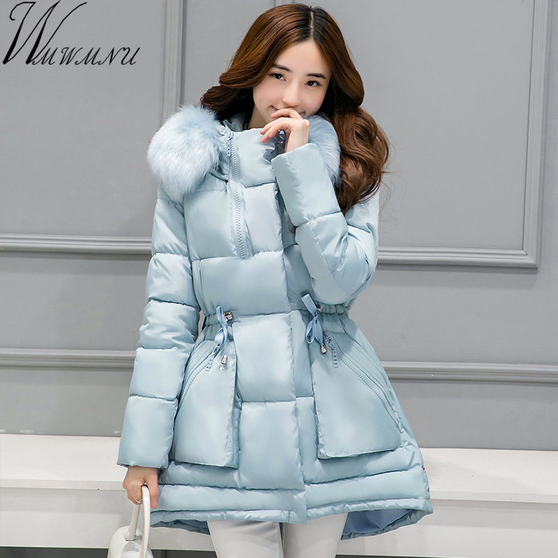 Wmwmnu fur collar Woman Winter Jacket 2017 New Thick Warm casual Hooded Coats Solid Color Zipper Cotton Parka Plus Size Outwear