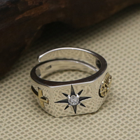 Solid Silver 925 Simple Cross Band Cuff Ring Men 100 Real Sterling Silver 925 With A