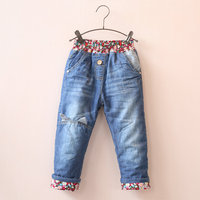 2015 Winter Baby Girls Winter Warm Denim Jeans Girls Thicken Jeans Kids Cute Floral Winter Jeans