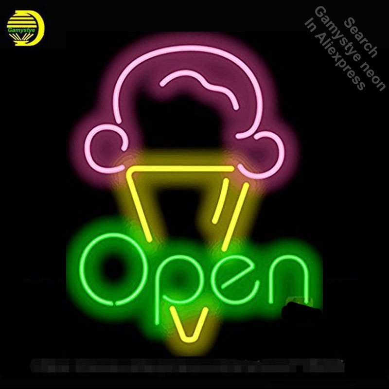 Ice Cream OPEN Neon Sign Restaurant neon bulb Sign neon lights Sign Custom glass Tube Handcraft Iconic Sign Display light up