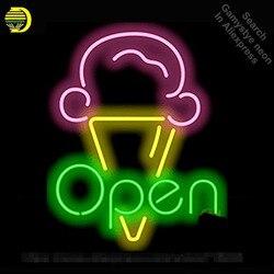 Lody otwarty Neon Sign restauracja żarówka znak neon znak neon światła znak niestandardowe rzemieślnicze szklana rurka Iconic znak wyświetlacz światła w górę