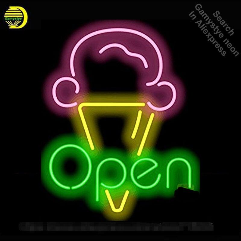 Lody otwarty Neon Sign restauracja żarówka znak neon znak neon światła znak niestandardowe rzemieślnicze szklana rurka Iconic znak wyświetlacz światła w górę w Żarówki i oprawy neonowe od Lampy i oświetlenie na Gamystye Official Store