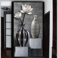 Beibehang Custom Wallpaper 3d Photo Mural HD Black And White Lotus Vase 3D Wallpaper Porch Aisle