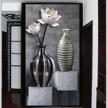 beibehang Custom wallpaper 3d photo mural HD black and white lotus vase 3D porch aisle corridor background wall paper