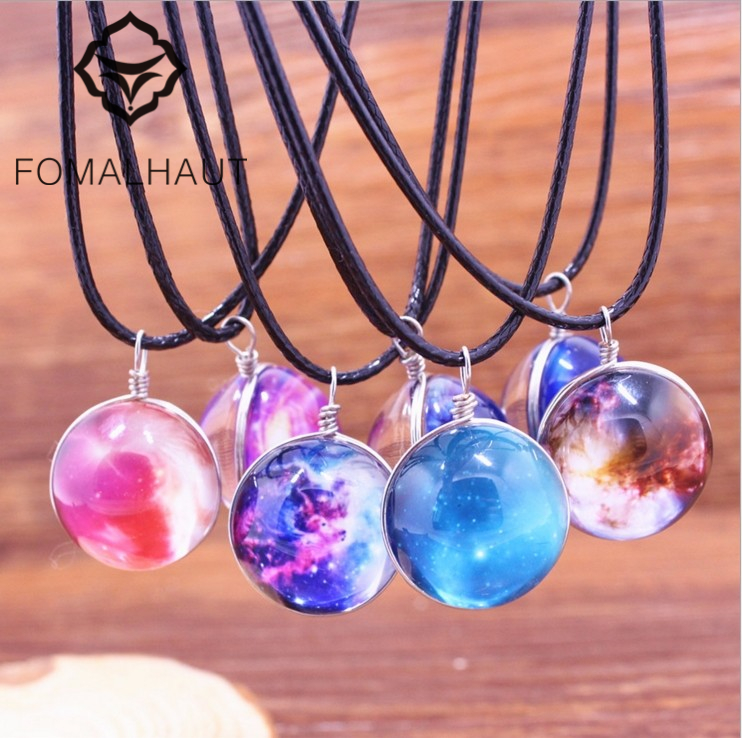YiWu Fashion Statement Jewelry FOMALHAUT Star Time Gem Galaxy Jewelry Crystal Glass Ball Necklace Long Strip Leather Chain Pendant Necklaces For Women XX-26