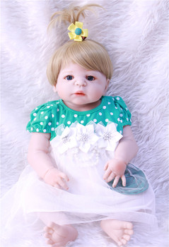 23'' 57 cm Full Body Silicone Reborn Girl Baby Doll Toys Lifelike Baby-Reborn Doll Child Birthday Christmas bebe Gift reborn bon bebe reborn doll silicone reborn reborn baby dolls lol doll brinquedos boneca reborn christmas gift for girl birthday npk