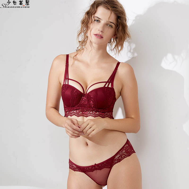 Shaonvmeiwu Winter new sexy lace on thin under thick underwear underwear   bra     set   underwear   set   red