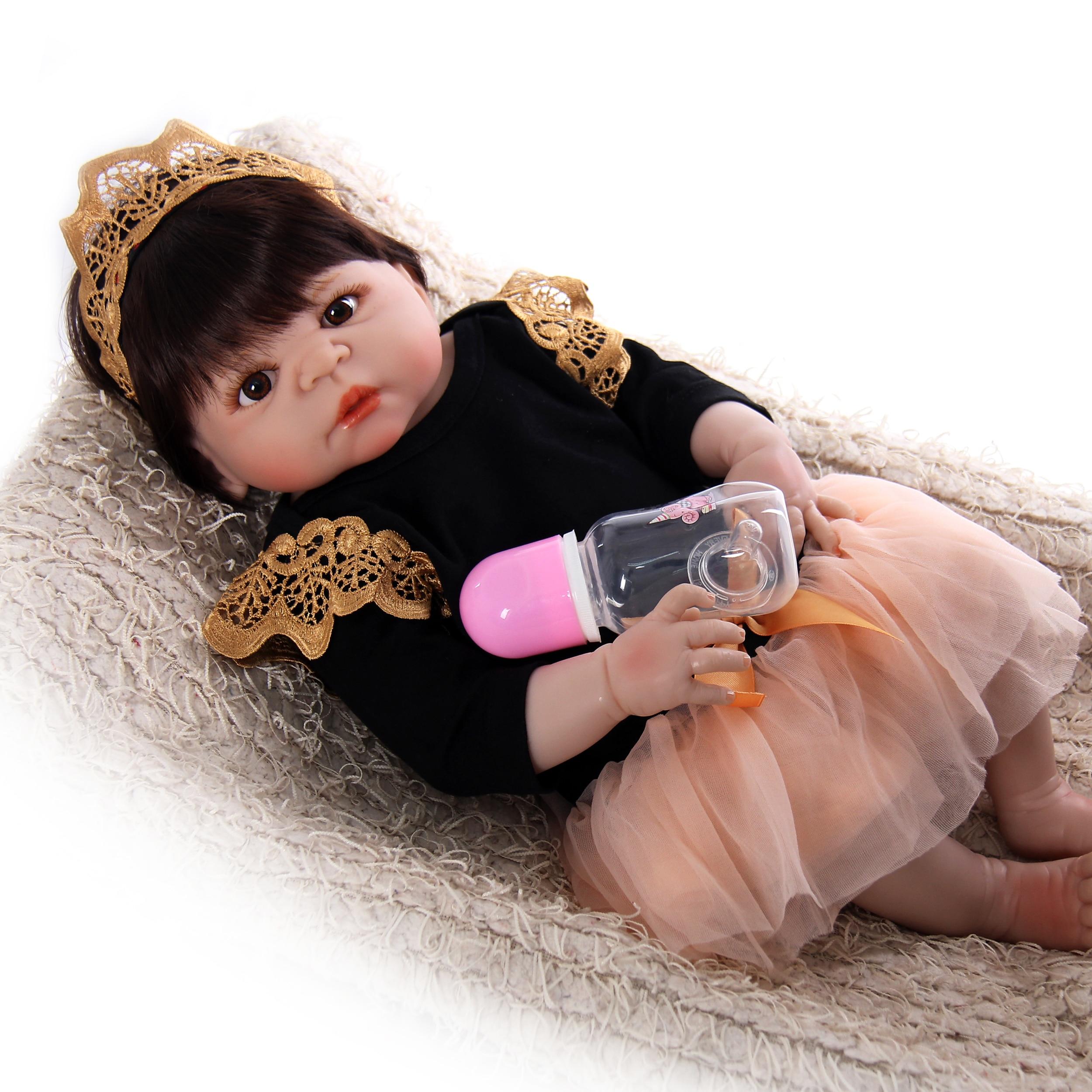 Venda quente corpo de vinil de silicone completo renascer-boneca tão verdadeiramente princesa 23 polegada bebê menina bebês bonecas lifelike crianças presentes de aniversário