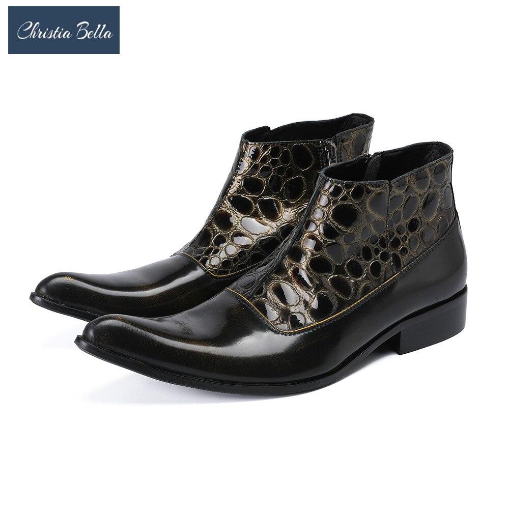 Christia Bella/новые стильные мужские ковбойские Полусапоги в байкерском стиле из натуральной кожи; Ботинки Челси с острым носком; Мужская официа