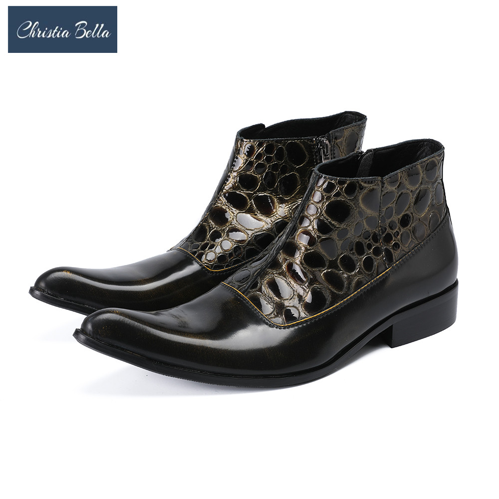 Christia Bella New Style Men Motorcycle Cowboy Ankle Boots Genuine Leather Pointed Toe Chelsea Boots Men Formal Dress Shoes donna in 2018 new style genuine leather ankle boots pointed toe thick heel chelsea boots calf leather women boots ladies shoes