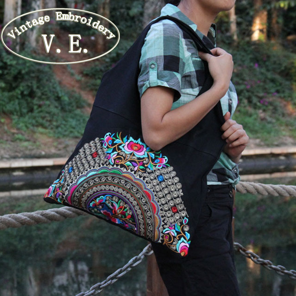 Vintage Nakış Milli Trend Etnik Çiçəklər Nakışlı Çantalar - Çantalar - Fotoqrafiya 5