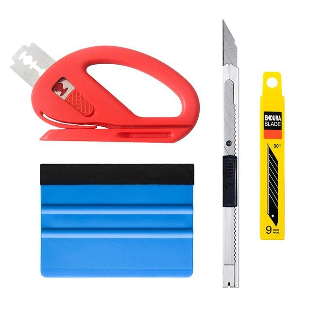 4pcs/set Car Vinyl Wrap Film Squeegee Scraper Tools Vehicle Sticker Installation Kit Cutter Knife Car Styling Auto Accessories