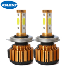 Aslent 2PCS Auto 100W 10000LM H7 LED H4 H11 H8 Car Headlight Bulb 6500K 4sides Automobiles Lights 12V 24V Front Fog Light