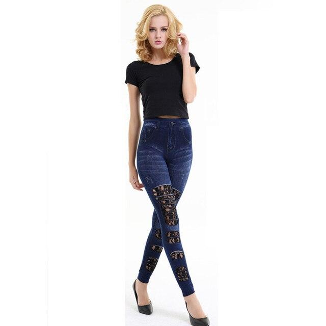 Горячая продажа кружева выдалбливают отверстия лоскутное синий жан jeggings женская тощий маленький тонкий брюки vogue дизайн кнопки, застежки-молнии украшения