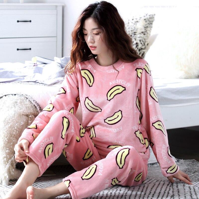 Cartoon pyjamas women winter warm flannel women pajamas set 2018 thick long sleevs pajamas female O Neck homewear Sleep Lounge L in Pajama Sets from Underwear Sleepwears