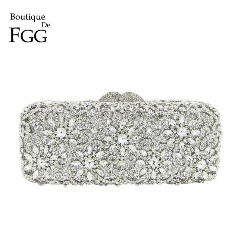 57075bbd20b Boutique De FGG Women Silver Crystal Clutches Bag Evening Party ...