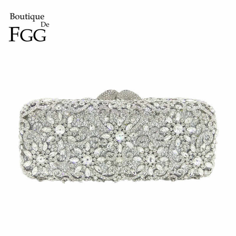 5072bba33b Boutique De FGG Women Silver Crystal Clutches Bag Evening Party Minaudiere  Box Clutch Purse Bridal Flower