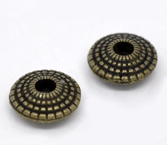 DoreenBeads, цинковая основа, искусственная круглая античная бронза, точка, резная, сделай сам, создает искусственное оформление, диаметр около 8 ...