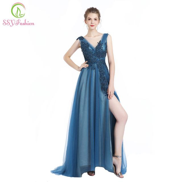 d3e9a7aec823 SSYFashion New Sexy Evening Dress Robe De Soiree Appliques Beading V-neck  Sweep Train High-split Elegant Prom Party Gowns