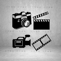 New 2015 Film Movie Company Studio Vinyl Wall Decal Blockbuster Decoration Camera Movie Theme Wall Sticker