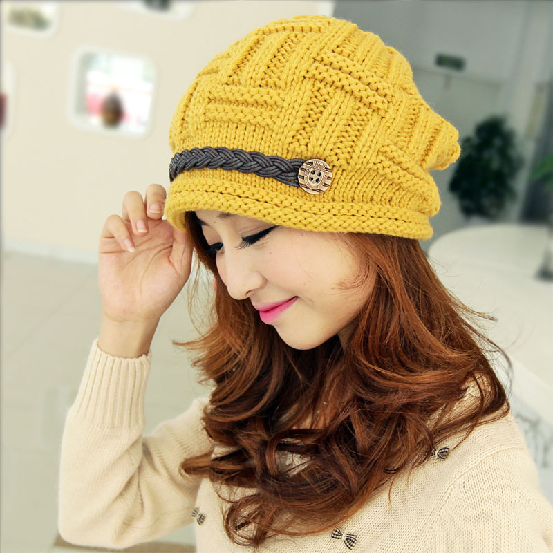 Winter Women Beanie Skullies Hiphop Hats Warm Knitted Wool Hat Buttons Crochet Cap Bonnets Femme Gorros Bone Hat alishebuy winter women men hiphop hats warm knitted beanie baggy crochet cap bonnets femme en laine homme gorros de lana