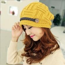 Winter Women Beanie Skullies Hiphop Hats Warm Knitted Wool Hat Buttons Crochet Cap Bonnets Femme Gorros Bone Hat