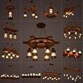 Деревенская лампа  кофейная спальня  столовая  промышленный декор  лофт  люстры  твердая Ретро деревянная лампа  подвесной светильник  промы...