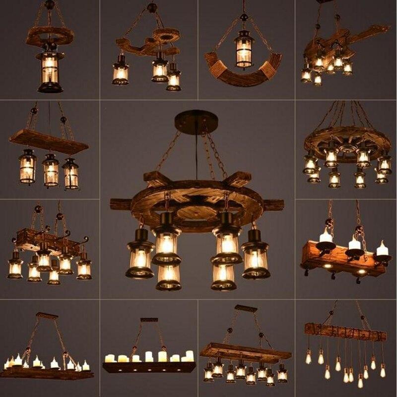 Lampe rustique café chambre salle à manger décor industriel loft lustres solide rétro bois lampe suspension luminaire industriel