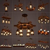 Rustic Lamp Coffee Bedroom Dining room Industrial Decor loft chandeliers Solid Retro Wood lamp suspension luminaire industrial