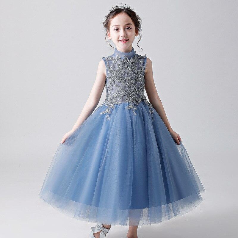 Nouvelle mode dentelle fleur fille enfant Guzheng costumes, défilé, robe de mariée, robe de demoiselle d'honneur fille robe de princesse d'été