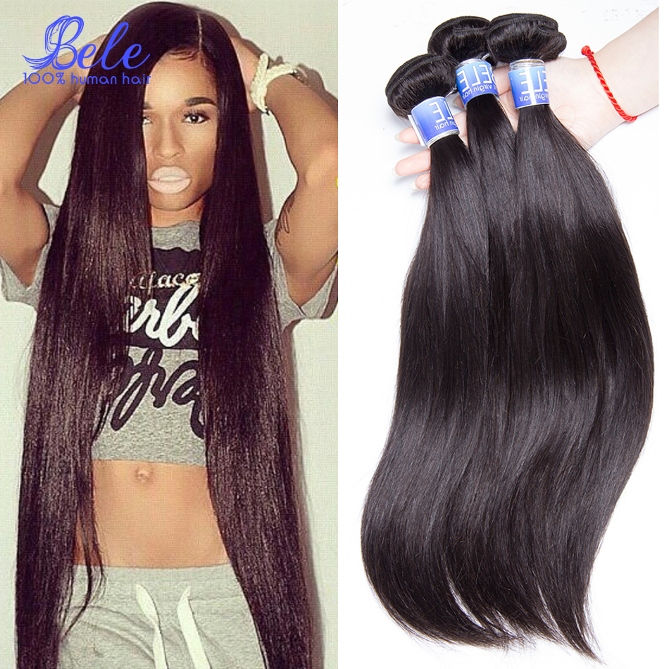 Bele Peruvian Virgin Hair Straight Human Hair Weave 4 ...