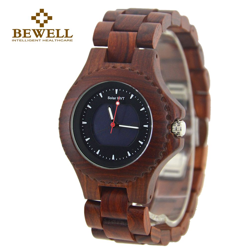 BEWELL 2016 Solar Energy Movement Wood Watch Men Dress Wooden Watches Black Friday Fashion & Casual Wristwatch With Box 074A